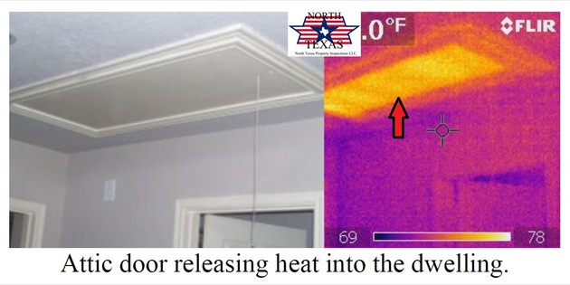Attic door releasing heat into the dwelling