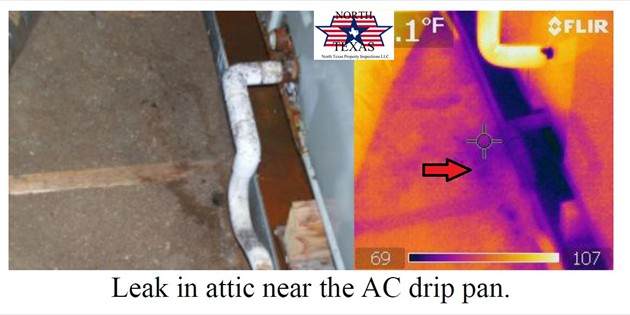 Leak in attic near the AC drip pan