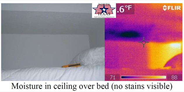 Moisture in ceiling over bed